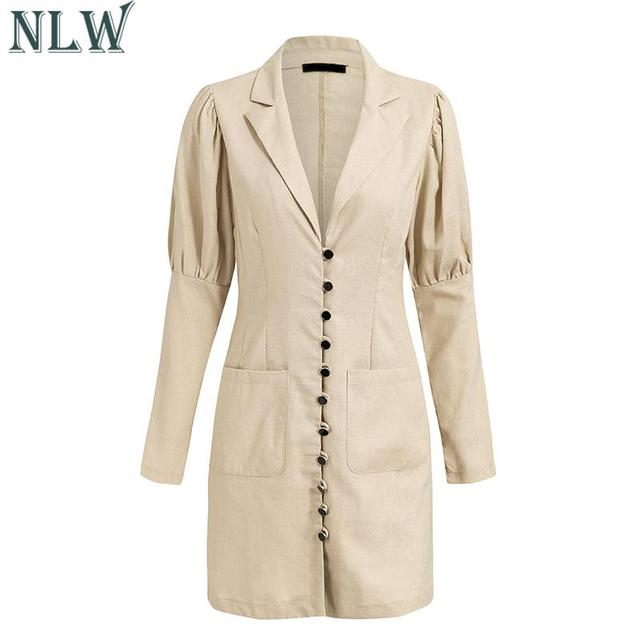 NLW 2019 Women Fashion Blazer Dress Casual V Neck High Waist Slim Mini Dress Long Sleeve Button Office Lady Chic Short Dresses 5