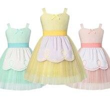 Menina princesa traje de verão alice no país das maravilhas fantasia fantasiar se roupas crianças azul belle festa de aniversário em camadas tule outfit