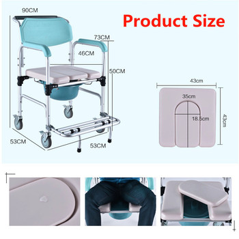 Commode Wheelchair 3-in-1 Elder Folding Chair Bedside Toilet & Shower Seat Bathroom Rolling Chair Aluminum Alloy Waterproof Туалет