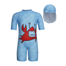 Amzbarley boys swimwear Cartoon crab swimsuit+hat set summer baby clothes infant toddler swimming wear kids beach bathing suit