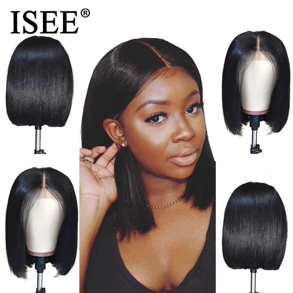 Прямые короткие парики из натуральных волос 150% Плотность 13X4 прямые парики из натуральных волос ISEE