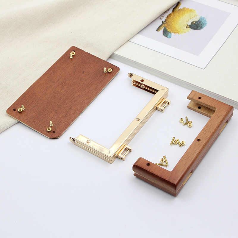 13,8 cm Goldene Platz Massivholz Keine Loch Schraube DIY Gepäck Und Taschen Hardware Teile Holz Geldbörse Rahmen Tasche Griff holz Geldbörse Rahmen