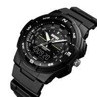 SKMEI мужские спортивные часы светодиодный цифровой 50 M водостойкий Повседневный двойной дисплей времени часы 1454