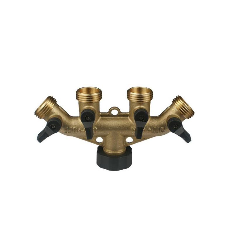 3/4 Garden Tap Connector 4 Way Brass Splitter Hose Pipe Fitting Switcher Nozzle 16x8cm For Watering & Irrigation Hardware