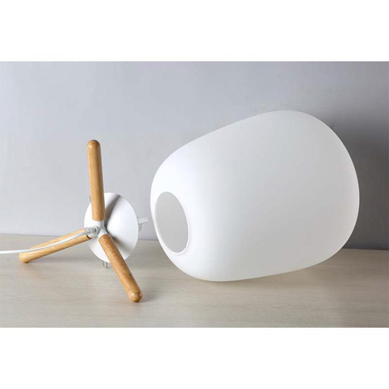 Ultra Moderno Mini di Modo Paralume In Vetro Smerigliato E Staffa Di Legno Texture Lampada Da Tavolo di Studio Con La Fonte di Luce Spina DEGLI STATI UNITI - 5