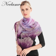 лучшая цена Neelamvar silk scarf ombre floral Scarves Foulard Chiffon Hijab Luxury Brand Scarf Bufandas oblong Cape Head wraps long shawl