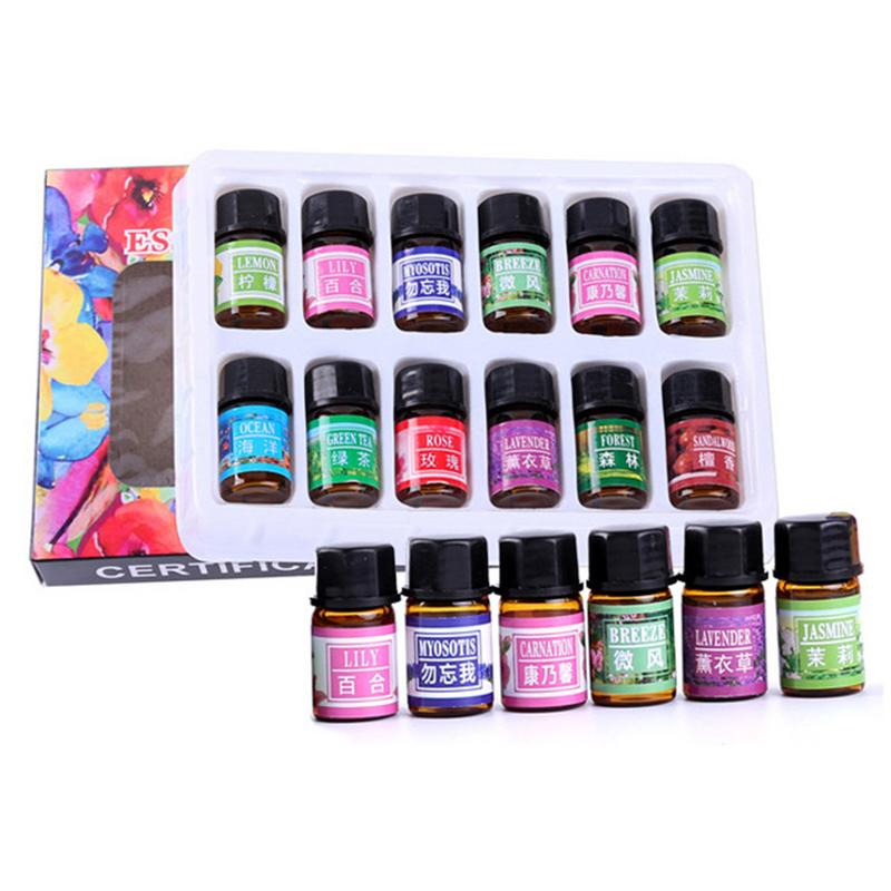 12pcs/lot 3ML Aromatherapy Aromatic Plant Water-soluble Essential Oil Set Humidifier Aromatherapy Spa Bath Massage Essential Oil
