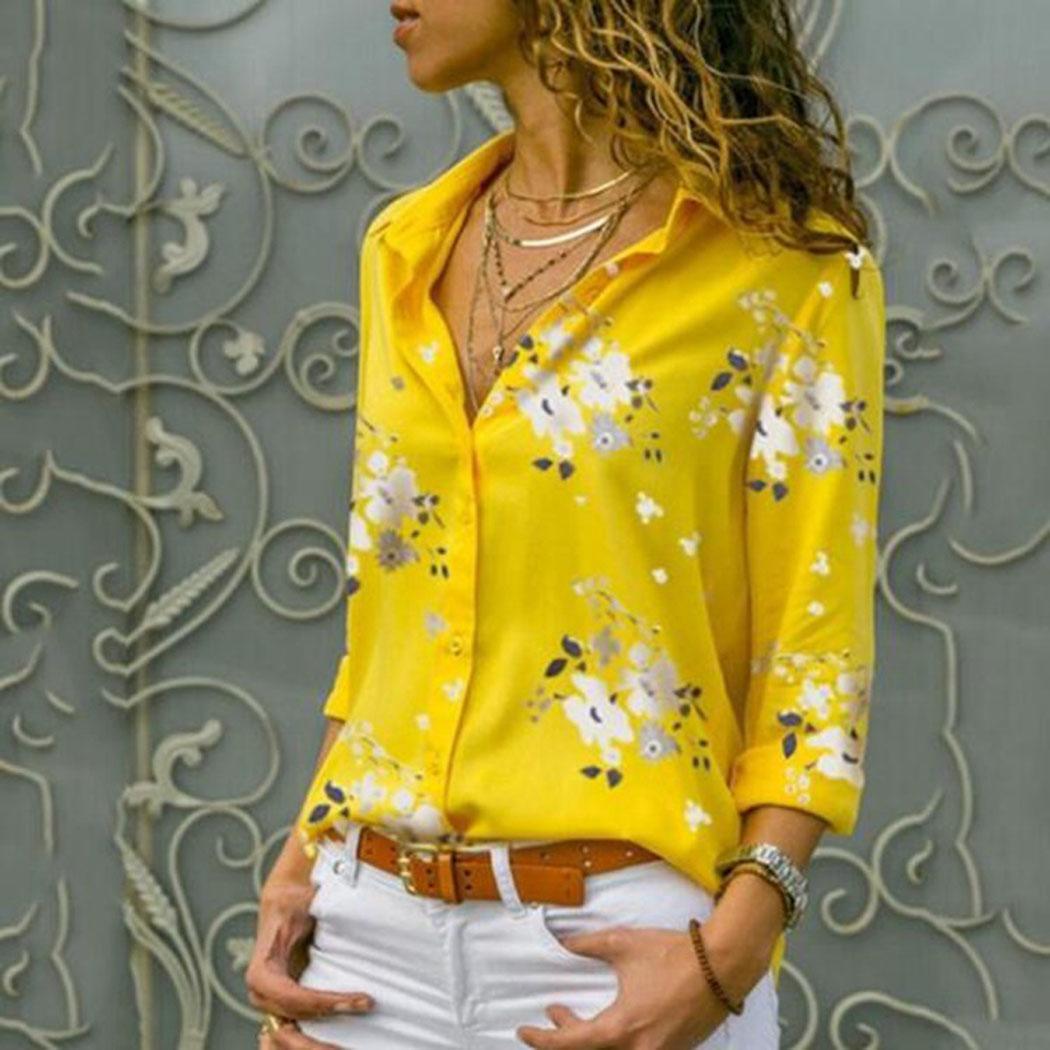 Women Casual Floral Print Button Down Long Spring Regular Sleeve   Shirt   Turn Collar Summer   Blouse