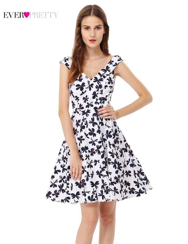 Abschlussballkleider Streng Floral Print Homecoming Kleider Immer Pretty A-line V-ausschnitt Ärmellose Rüschen Kleider As05509wh Sommer Casual Graduation Kleider Attraktives Aussehen