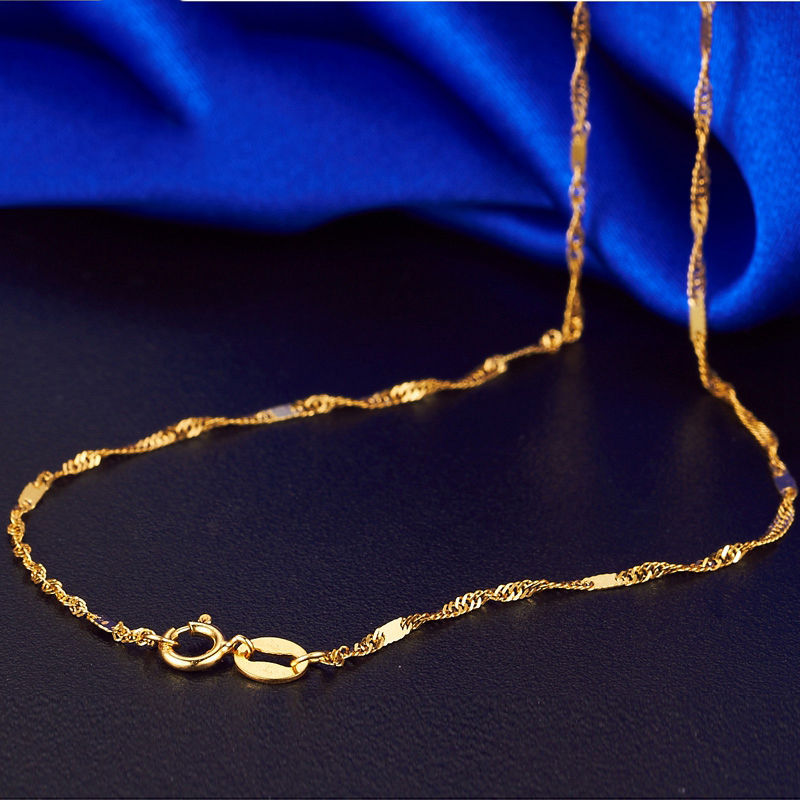 أصيلة 18k الأصفر عقد ذهب 1.0 مللي متر سنغافورة رابط سلسلة 17.7 بوصة L-في قلادات من الإكسسوارات والجواهر على  مجموعة 2