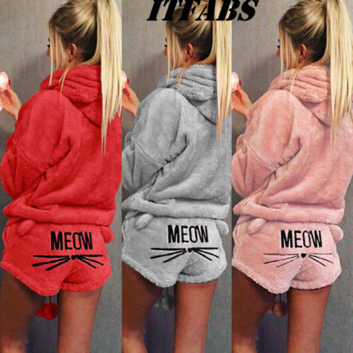Hot Women Winter Warm Coral Velvet Winter Nightdress Thick Hooded Sleepwear   Pajamas     Sets