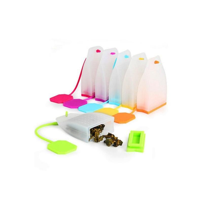 1pc Silicone Reusable Tea Bag Tea Infuser Strainer Loose Leaf Filters Steeper For Tea Cups Mugs Teapots