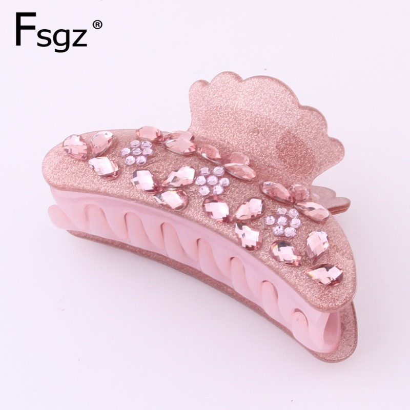 9.5CM Acrylic Hair Clip Solid Luxury Waterdrop Crystal Paved Large Hair Claw Clips For Women  Crab For Hair Tail Accessories NEW