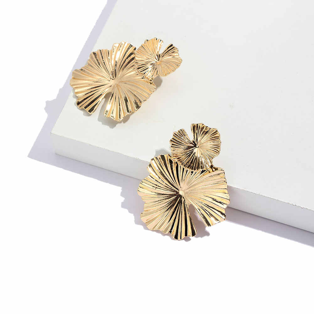 JUST FEEL ZA Flower Vintage Dangle Earrings Gold Color Simple Leaf Boho Statement Big Drop Earring For Women Punk Metal Jewelry