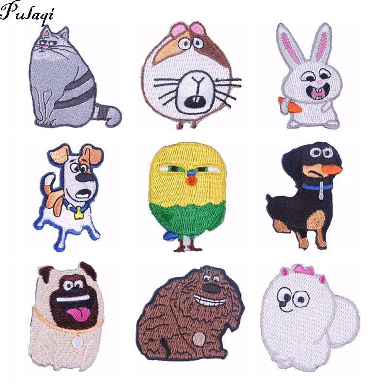 Pulaqi The Secret Life Of Pets Iron On Transfer Embroidered Appliqued Printed Anime Clothing Arm Badge Animal Cartoon Patches H Without Return Video Games