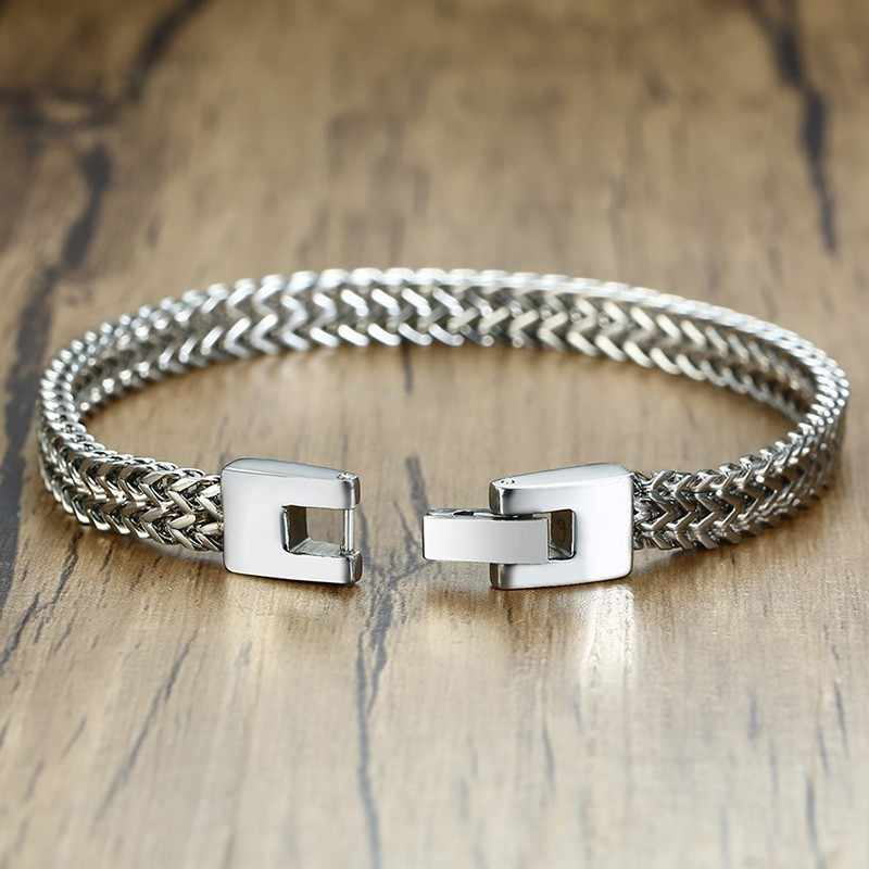 """Double Rope Chain Mens Stainless Steel Bracelet silver color Punk Biker Pulseira Masculina Jewelry 8.3"""""""
