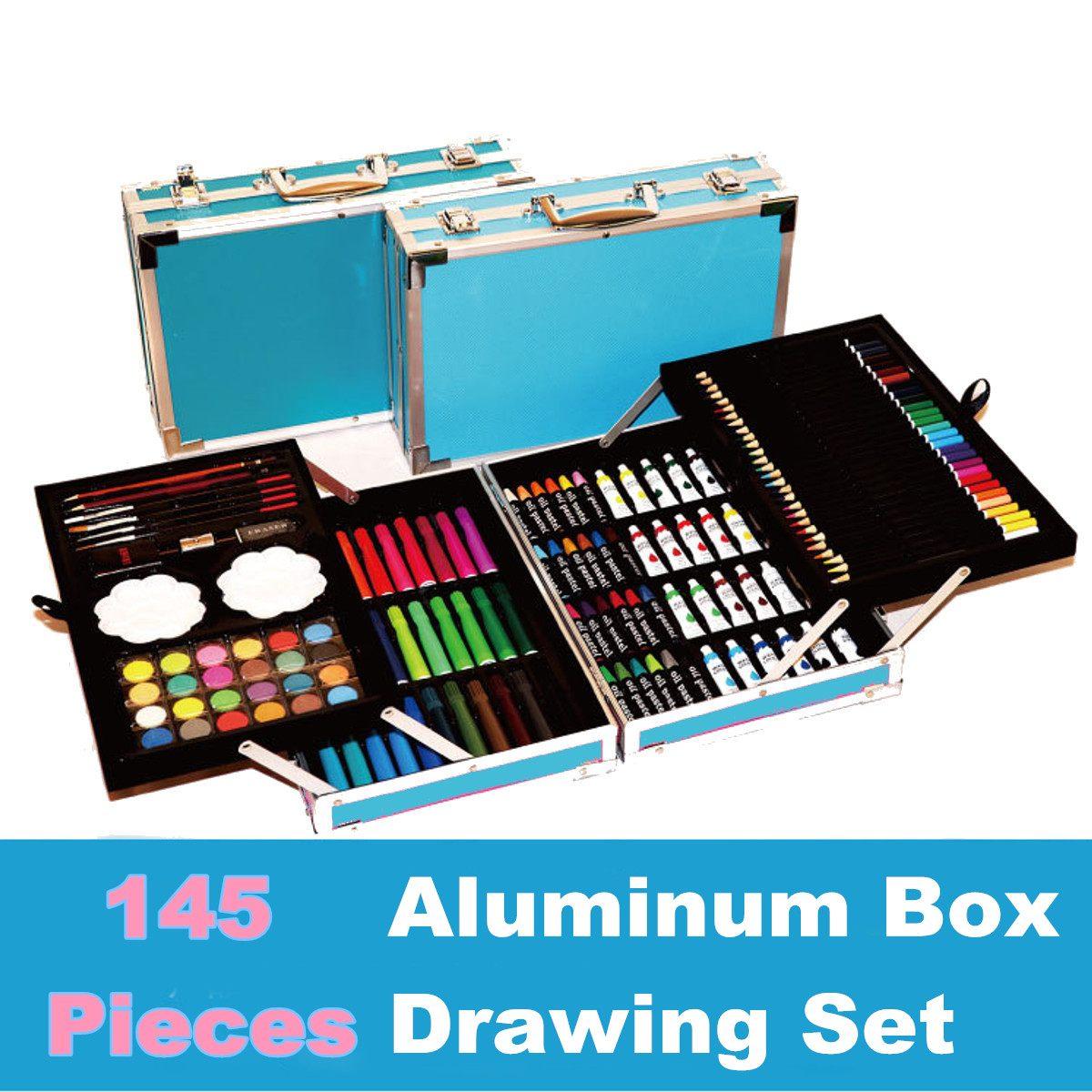 145 pièces Coloré Crayons Ensembles Couleur Art Professionnel Croquis ensemble pour dessiner Coloration stylo de peinture Brosse Artiste Kit avec Boîte En Bois Cadeau