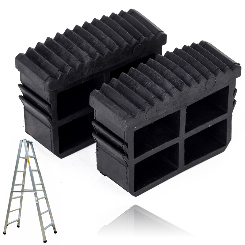 Imported From Abroad 2pcs/set Black Rubber Replacement Step Ladder Feet Non Slip Ladder Plug Foot Pad For Ladder Accessories For Sale Construction Tool Parts Construction Tools