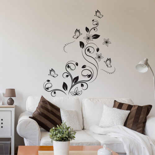 Flower Rattan Vinyl Art Home Window Store Wall Stickers Decal Home  Decor Removable Living Room Art TV Background