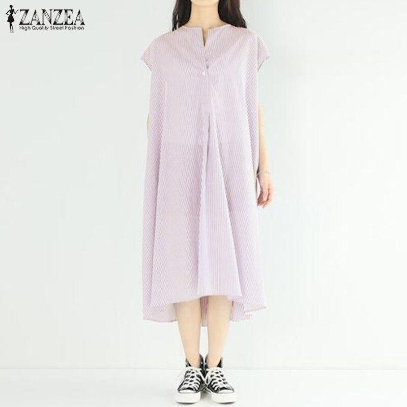 2019 ZANZEA Summer Women Short Sleeve Striped Dress Loose Work OL Casual Sarafans Femininas Sundress Robe Long Shirt Vestido
