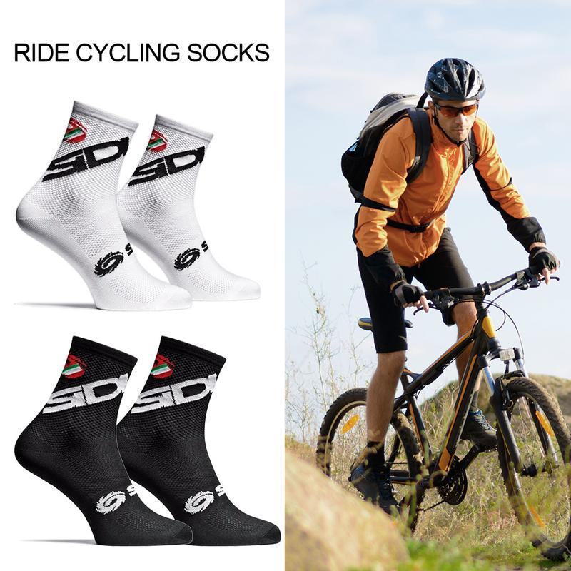 2019 New Cycling Socks Men Sports Outdoor Black White Breathable Road Bikes Socks Suitable For Foot Length 25-28cm