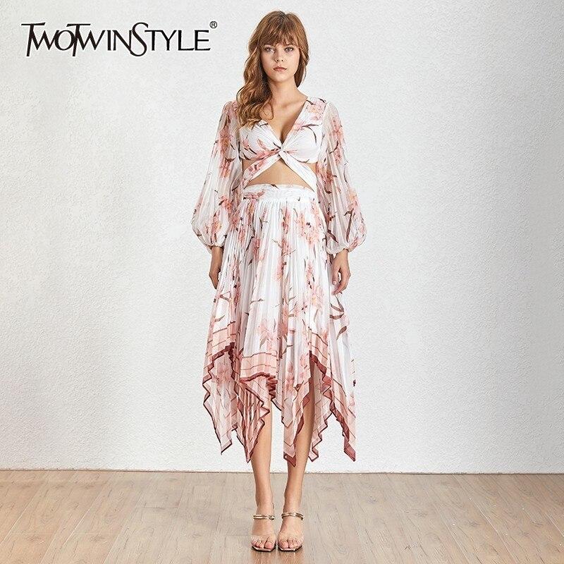 Deuxtwinstyle imprimer deux pièces ensemble pour femmes col en V lanterne manches creux dos nu Crop hauts taille haute asymétrique plissée jupe