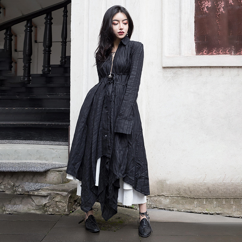 [EAM] 2019 New Autumn Winter Lapel Long Sleeve Black Fold Spliced Bandage Irregular Hem Shirt Dress Women Fashion Tide JR388