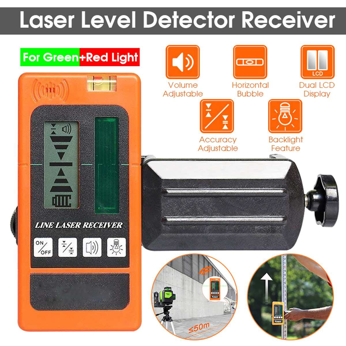 Laser Level Detector Receiver for Levelsure for Huepar Electronic Leveling 2/5/12 Lines Vertical Horizontal for Red/Green Light