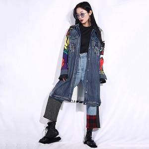 Image 3 - EAM veste jean à manches longues, nouvelle veste jean ample grande taille, manteau femme, à manches longues, à motif bleu, à la mode, printemps automne 2020
