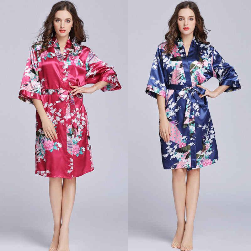 72687c73e4 Detail Feedback Questions about Silk Satin Wedding Bride Bridesmaid Robe  Floral Bathrobe Short Kimono Robe Night Robe Bath Robe Fashion Dressing Gown  For ...