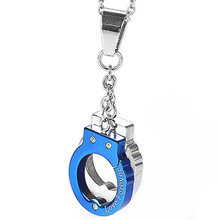Mens Stainless Steel Silver Blue Handcuff Simple Circles Pendant Necklace With Love Forever Laser Engrave Personality