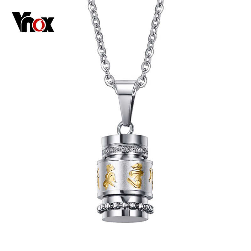 Vnox Cool Rotatable Mantra Necklaces & Pendants Stainless Steel Prayer Necklace Men Jewelry Free Chain 20""