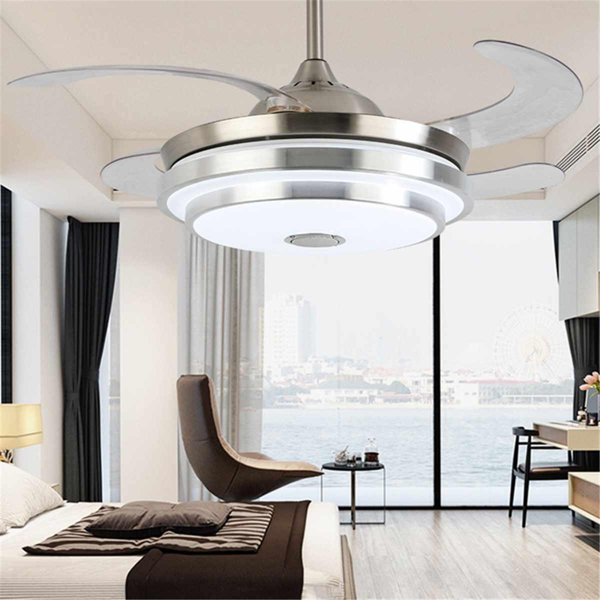 Moderna HA PORTATO A Soffitto Con La Luce Pieghevole Lampada Ventilatore A Soffitto Sala da pranzo Soggiorno 7 Cambiamento di Colore Musica APP Remote di controllo - 3