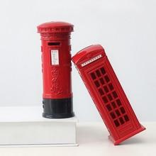 Лучший!  Creative Vintage Телефонная Будка Копилка Почтовый Ящик Копилка Сплав Копилка Украшения Дома