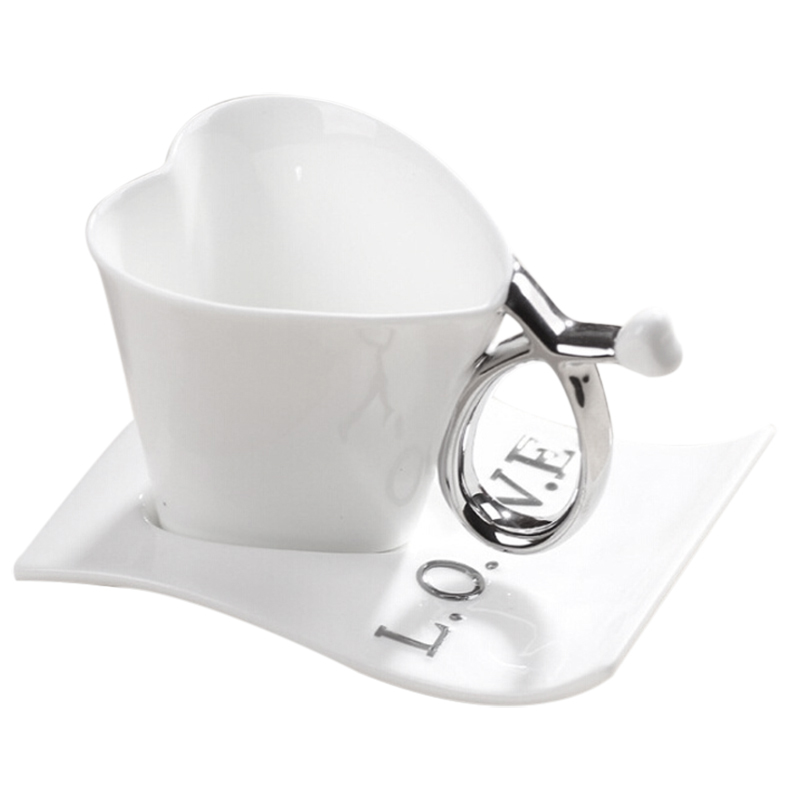 200ML Creative Love Heart-shaped Ceramic cups white & Silver