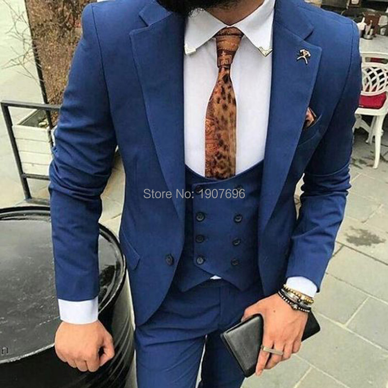 Slim Fit Navy Blue Wedding Men Suits 2019 Notched Lapel Three Piece Double Breasted Vest Jacket Pants Tailed Made Blazer in Suits from Men 39 s Clothing