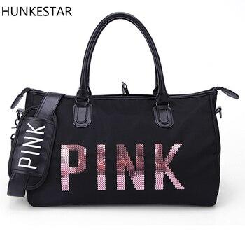 2018 Black Sequins letters Duffle Bag Women Gym Bags Tote Beach Handbag Travel Shoulder Bags traing bag roupas da moda masculina 2019