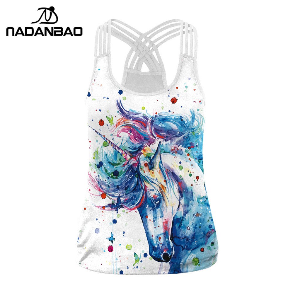 NADANBAO Sexy Bandage Unicorn Print Women   Tank     Top   Fitness Vest Sleeveless Back Sling   Tops