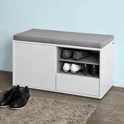 SoBuy FSR37-W, прихожая обувной шкаф обувной стойки, обувной Банкетка с нишей с Съемное Сиденье подушки