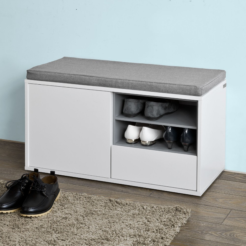SoBuy FSR37-W, Hallway Shoe Cabinet Shoe Rack, Shoe Storage Bench with Removable Seat Cushion