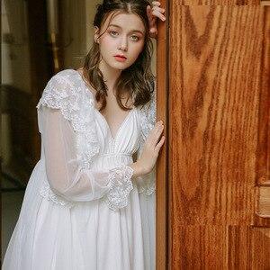 Image 4 - Lisacmvpnel Retro เจ้าหญิงสไตล์ผ้าฝ้ายถักผู้หญิง Robe ชุดชีฟองผ้าไหมน้ำแข็งเซ็กซี่แฟชั่นชุดนอน