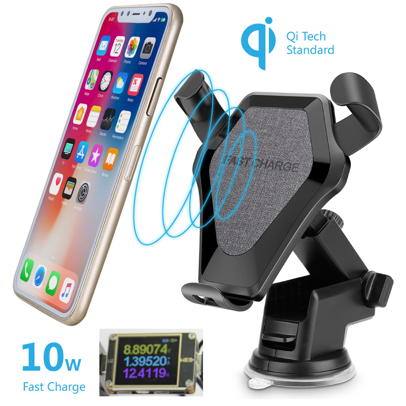 Qi Wireless Car Charger Mount 10w Fast Charge Auto Gravity Holder QC 9v Quick Charge Stand for iPhone 8 X XS XR Samsung Huawei