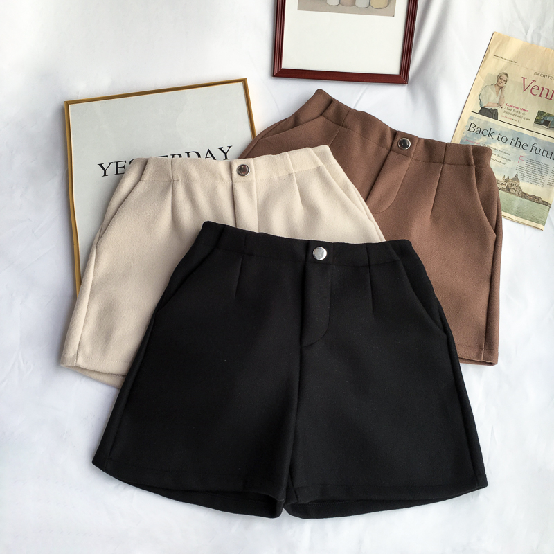 Winter Woolen   Shorts   Women High Waist Female Loose Thick Warm Elastic Waist Boots   Shorts   Wide Leg A-line   Shorts   Korean Fashion