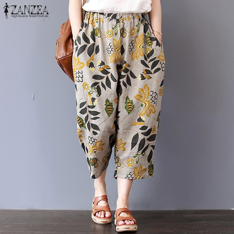 ZANZEA 2019 Vintage Women Dot Print Long   Pants   Trousers Ladies   Wide     Leg     Pants   Harem   Pants   Cotton Pockets Pantalon Femme Oversize