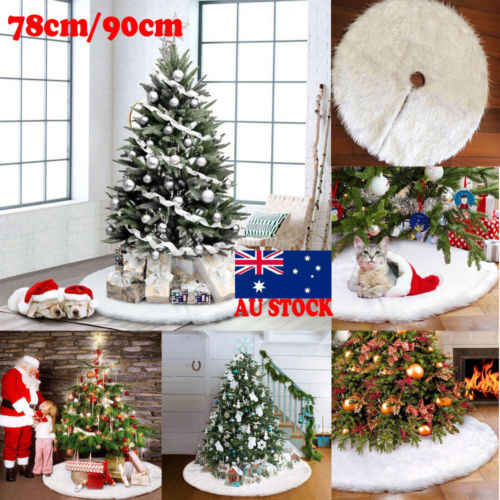 78cm/90cm Snow Plush Christmas Tree Skirt Floor Mat Cover XMAS Party Decoration