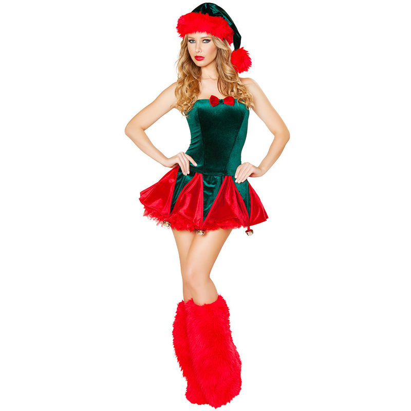 Deluxe Ladies Green Santa Claus Christmas Tree Outfit Party Adult Women Fancy Dress