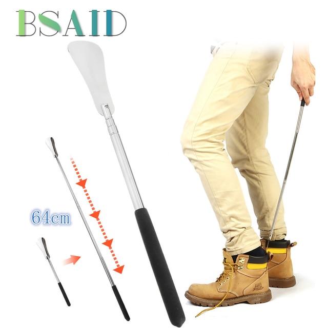 BSAID 64 センチメートル伸縮性靴ホーンシリコーンハンドルスティックステンレス鋼靴ホーン長さ調節可能靴べら女性男性のための靴