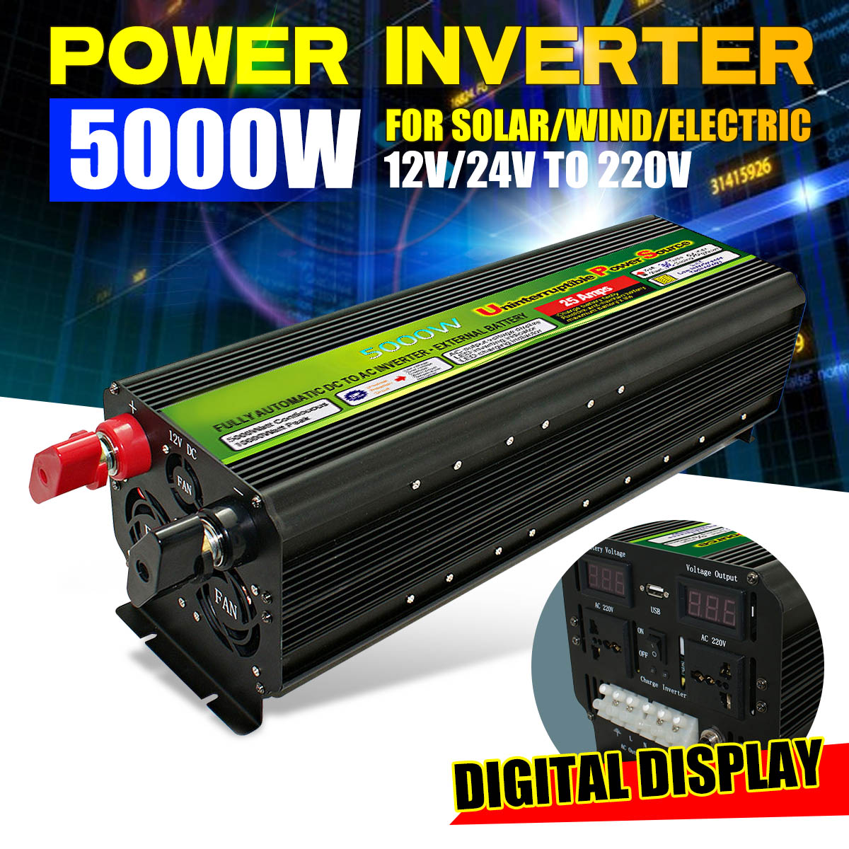 5000Watt 10000W (Peak) 12/24V Zu <font><b>220V</b></font> 60Hz UPS Power <font><b>Inverter</b></font> Solar/Wind Aufladbare LCD display spannung Auto power <font><b>Inverter</b></font> image