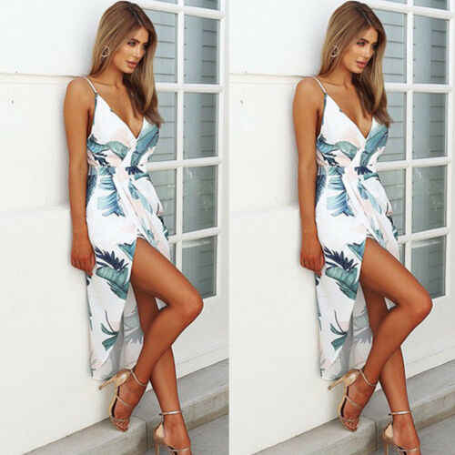 2019 Phụ Nữ Floral Printed Midi Dress Evening Đảng V Neck Bãi Biển Dresses Mùa Hè Sundress HOT
