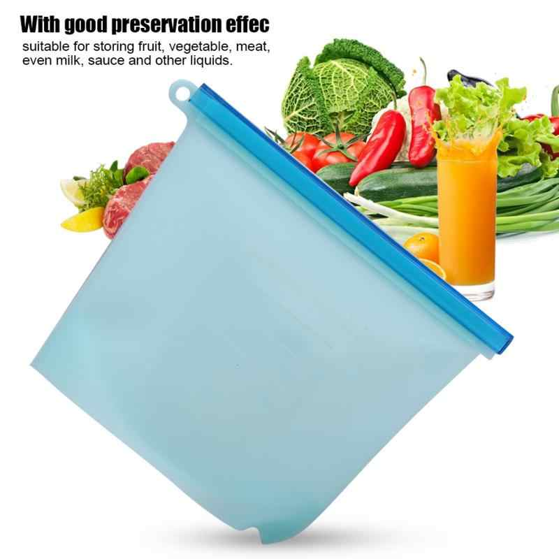 Reusable Vacuum Silicone Food Bag Sealer Milk Fruit Meat Kitchen Organizer Storage Bags Fridge Food Containers Refrigerator Bag